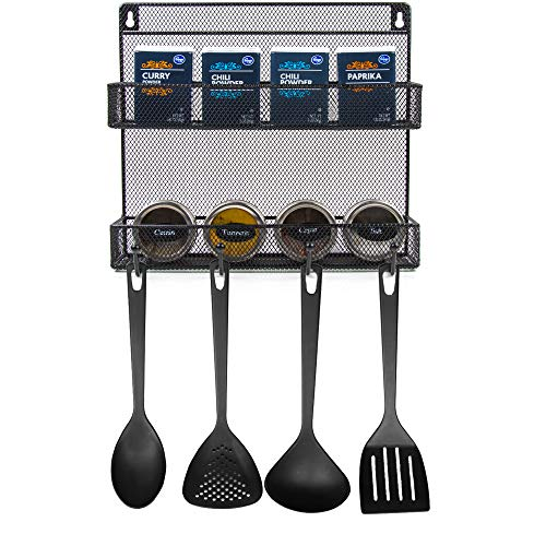 Wall Mounted Kitchen Spice Rack Organizer with Utensil Hooks