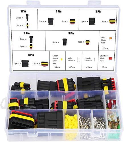 Huaxiangoh Stecker Wasserdicht,240 Stück wasserdichte elektrische Kabelverbinder, Steckverbinder,Terminal-Stecker, 1/2/3/4/5/6-poliger Stecker und Buchse.