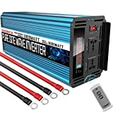 3000 Watts Power Inverter Pure Sine Wave Inverter DC 12V to AC 220V 240V Converter Peak Power 6000 Watt with Remote Control Dual AC Outlets and USB Port for RV Car Solar System Emergency
