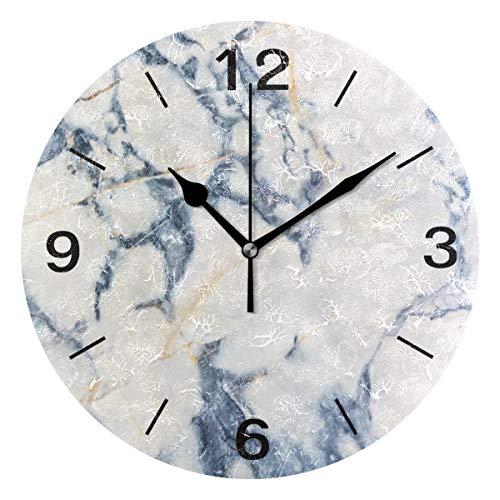 Domoko Home Decor Funny Marmor Stein Acryl, Rund Wanduhr Geräuschlos Silent Uhr Kunst für Wohnzimmer Küche Schlafzimmer