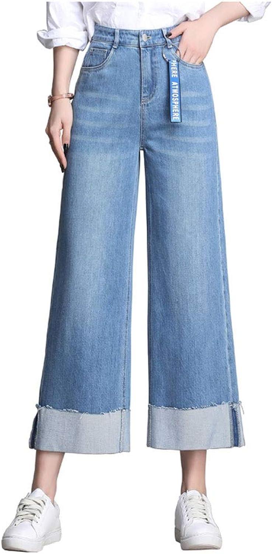 Jeans Women Loose New Slim Falls Wide Leg Pants Straight High Waist Curling Nine Pants Denim Wide Leg Pants Korean Version of High Waist Pants Length 84cm (color   bluee, Size   30 2XL)