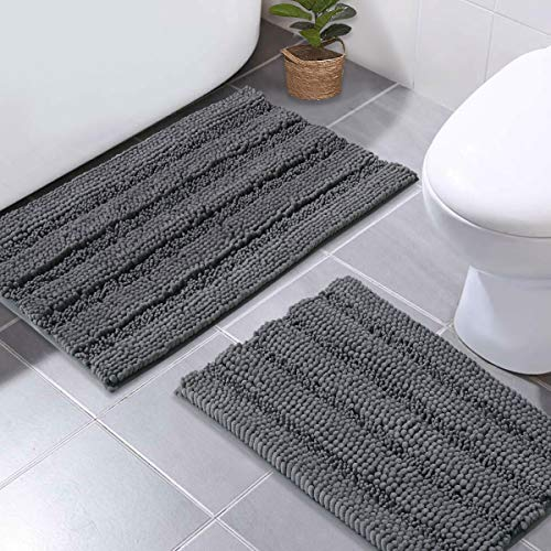NICETOWN Grey Bath Rugs, Extra Thick Bath Rugs for Bathroom, Anti-Slip Soft Plush Chenille Shaggy Bath Mats, Living Room Bedroom Mats, Water Absorbent Floor Carpets (20 x 32 Plus 17 x 24)