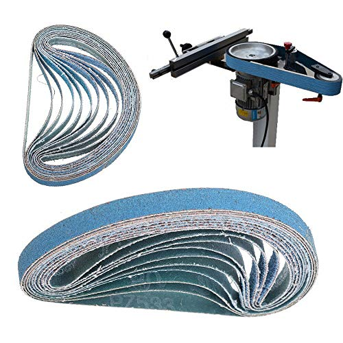 Bandas de lija (10, grano 40–120, 520* 20mm/457* 13mm/330* 10mm, lijado lijadora para Makita/Bosch papel de lija