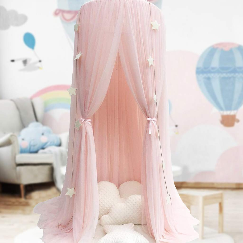 Bed Canopy for Girls - Princess Bed Canopy Mosquito Net Nursery Play Room Decor Dome Premium Yarn Netting Curtains Baby Game Dream Castle, Pink