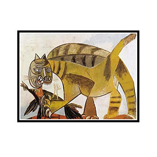 ADNHWAN Pablo Picasso 《Katze verschlingt einen Vogel》 Leinwandmalerei Kunstplakate Drucken für Wohnwand Wohnzimmer Dekor -50x70cm Kein Rahmen 1 PCS