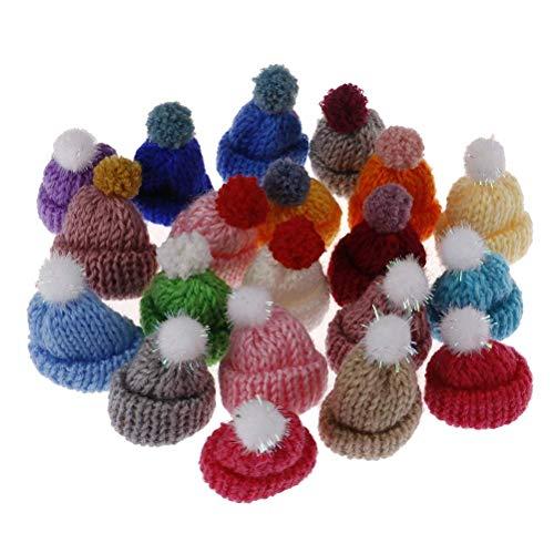 RUIYELE 20 mini sombreros de punto para muñecas, 3,5 cm, hilo de lana mixto, mini sombrero de casa de muñecas, gorro, ropa de muñeca, juguete de arte para niños, manualidades, tejer