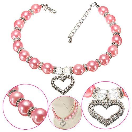 ZJF Suministros Esenciales Familiares Pet Cristal Heart Heart Charm Pendiente Perlas Collar Collar Rosa
