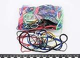 Progom - Elastiques caoutchouc - couleurs multiples - longueur à plat : 30mm a 200mm - largeur : 1.7mm à 10mm - sac de 100 grs
