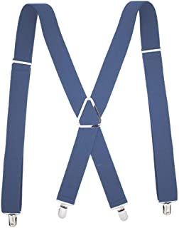 4 Clips Men's Black Adjustable X Back Suspender. (Color : Blue)