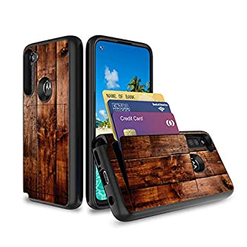 Compatible with Moto G Power Case,Moto G Stylus Case,Moto G8 Power Case,Wood Grain Dual Layer Hard Back Cover Wallet Pocket Credit Card ID Protective Case for Moto G Stylus