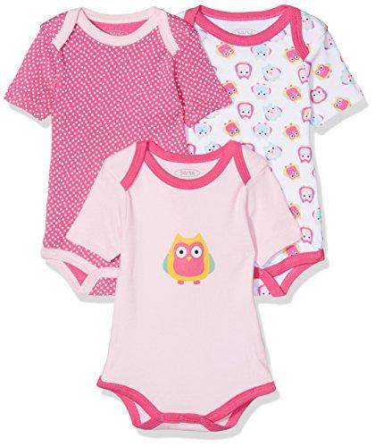 Schnizler Baby-Mädchen Kurzarm, 3er Pack Eule, Oeko-Tex Standard 100 Body, Rosa (original 900), 50 (Herstellergröße: 50/56)