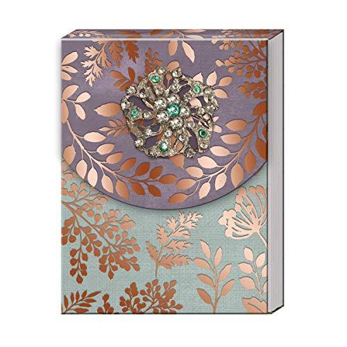 Faux Leather Punch Studio Journal wih Brooch Embellishment Light Blue Floral Bird Design 45064