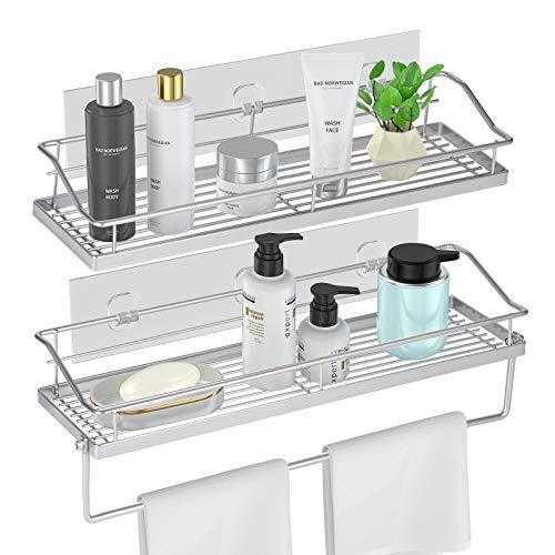 Orimade Adhesive Bathroom Shelf with Towel Bar Rail Rack Shower Caddy Kitchen Toilet Storage Organizer Rustproof Wall Mounted - No Drilling