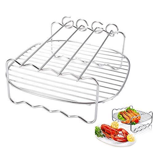 Lorenory Dubbele Laag RVS Vervangende BBQ Rack Skewers Bakplaat Voor Air Fryer Barbecue Rack Bakplaat BBQ Rack