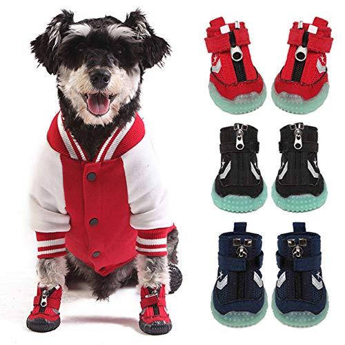 LIBHW Dog Boots Paw-Schutz, Anti-Rutsch-Schuhe für Hunde, Diese bequemen weichen Sohlen Hundeschuhe sind mit Reflective Träger, für mittlere bis große Hunde,Rot,S