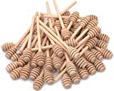 Lawei 50 Pack Wooden Honey Dipper Sticks - 6 Inch Mini Honey Dipper Server for Honey Dispenser Drizzled Honey and Wedding Party Favors, Individually Wrapped (Shallow Groove - 6 inch)