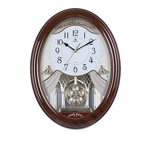 Horloge de style européen Creative Musique Horloge murale Swing Personnalité de la mode Montre murale Rétro Salon silencieux Horloge à Quartz