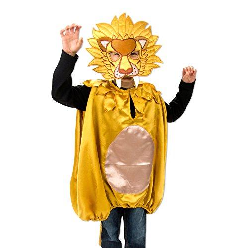 Cape et masque de Lion - Déguisement pour enfant - Cadeau pour Garçon - Taille unique 3 - 8 ans
