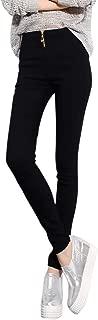 iLOOSKR Fashion Slim Fit Trousers Womens Zipper High Waist Casual Elastic Leggings Pants