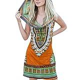 COZOCO Vestido de Noche de Boho para Mujer Vestido de Verano con Capucha Floral Vintage Vestido de Coctel de Playa(Naranja,S)