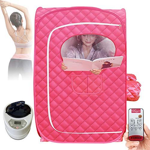 Saunas Steamer Máquina de 9 velocidades, termostato Home Mini sauna de vapor rosa con mando a distancia, 73 x 73 x 118 cm