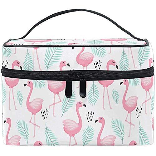 Trocial Flower Palm Leaves Pink Birds Flamingo Cute Cosmetic Bag Travel Cosmetic Brush Bag Storage Organizer
