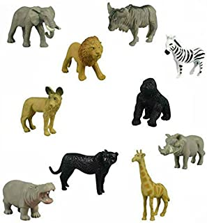 12 Small Safari Animals Jackal Giraffe Elephant Antelope Gnu Zebra Panther Warthog Lion Gorilla Hippopotamus Rhinoceros Wildlife Zoo Set of Wild African Figure Plastic Playset Toys