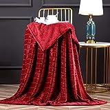 Bertte Throw Blanket Super Soft Cozy Warm Blanket 330 GSM Lightweight Luxury Fleece Blanket for Bed Couch- 50'x 60', Burgundy