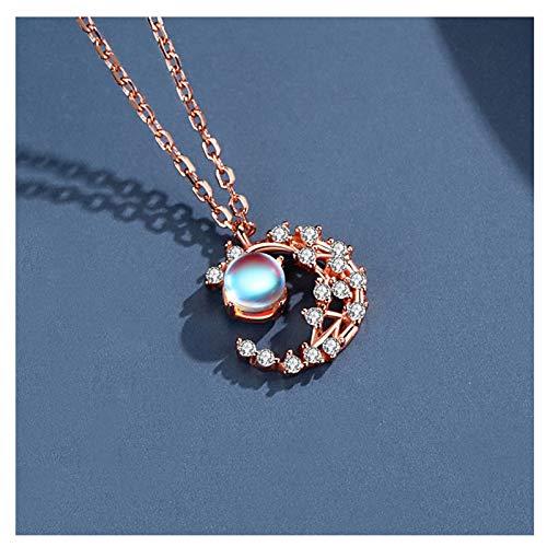 hkwshop Collar Mujer Collar de Piedra de Luna Femenina de Plata esterlina clavícula Cadena luz de Lujo Estrella y Luna Colgante joyería Regalo Collar con Colgante (Color : B)