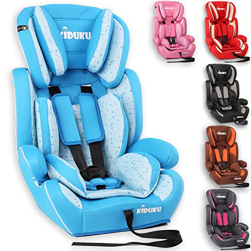 KIDUKU® Autokindersitz Kindersitz Kinderautositz, Sitzschale, universal, zugelassen nach ECE R44/04, in 6 verschiedenen Farben, 9 kg - 36 kg 1-12 Jahre, Gruppe 1/2 / 3 (Hellblau/Weiß)
