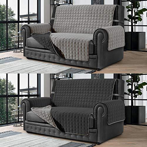 Banzaii Cubre Sofá – Funda Sofá Acolchada Reversible – 3 Plazas Gris Claro y Gris Oscuro para Asiento de 170 a 195 cm