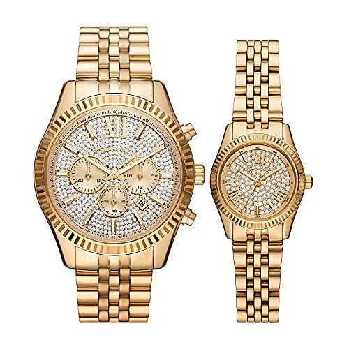 Reloj Lexington para hombre, de Michael Kors, de acero inoxidable en tonos dorados y con cronógrafo, MK1047