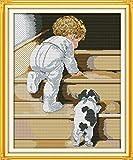 Lucsiky Kits de punto de cruz contados -Escaleras para bebés y perros18x22cm- Kit de bordado a mano con patrón de punto de cruz Diy Kit de bordado impreso Set decoración del hogar