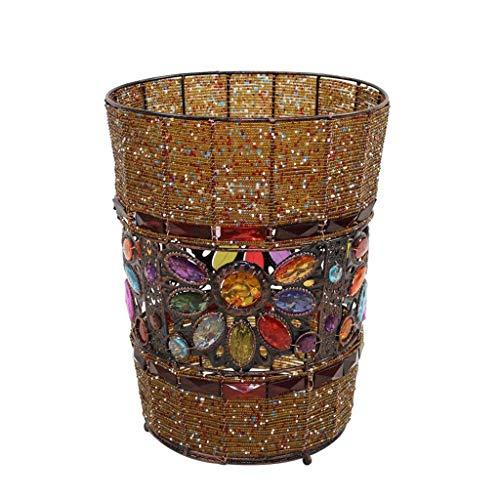 Cubo de Basura Cocina Bote de Basura Descubierto Cubo de Basura Papelera de Reciclaje Papeleras de Basura Cuentas Hechas a Mano Original Plexiglás de Hierro Forjado