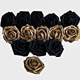 Carreking Artificial Flowers Roses 25pcs Real Looking Fake Roses DIY Wedding Bouquets Shower Party Home Decorations Arrangements Party Home Decorations (25pcs Black&Gold)