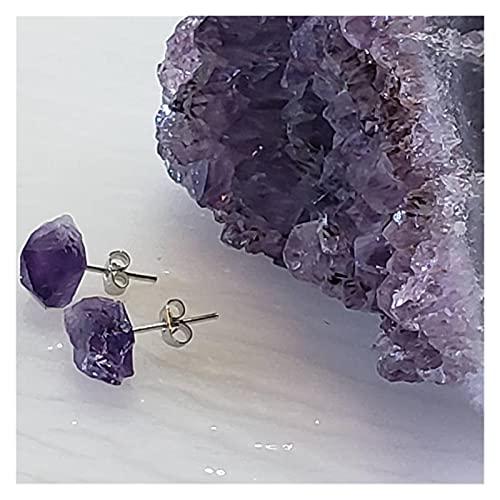 YSJJDRT Cristal Natural Rugoso Pendientes de Perno de Amatista Pulido Crudo con Acero Inoxidable Piedra Natural Piedra Natal Piedra áspero Boho pequeño Minimalistas