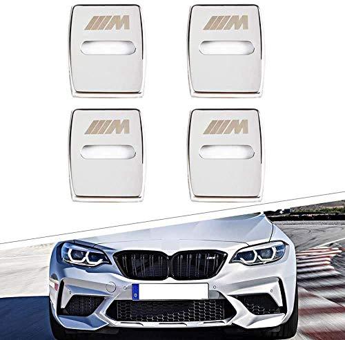 Cierre de la tapa 4 piezas en acero inoxidable puerta del coche para BMW 3 4 5 7 GT de la Serie X1 X3 X4, coche cierre de la hebilla de protector de borde anti-corrosión accesorios decorativos,Plata