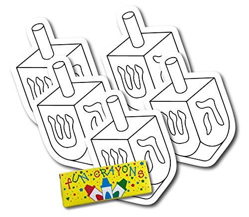 Color Your Own Hanukkah Dreidle Magnets, a Great DIY for You or to Share with Friends, Decorate 5 Magnetic Dreidle Holiday Refrigerator Magnets - with Bonus 4 Pack of Crayons