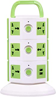 Impro Green Colour 11 Socket + 2 USB Ports Tower Socket Spike Buster / 3 Floor Vertical/Surge Protector / 10A Plugs / 2500W Rated Power/Copper Core Cable/ABS Material / 1.6 Meter Cord Length