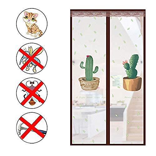 Patrón De Cactus Mosquitera Abatible Puerta 90x200cm / 35x78inches Mosquiteras Magneticas para Ventanas Manténgase alejado de la Cortina de Mosquitos para Puertas corredizas de balcón Sala de Estar,F