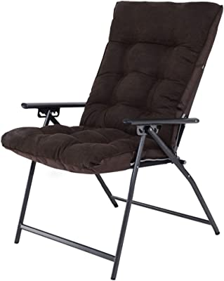 Folding Chair Home Office Recliner Dormitory Computer Chair Cotton Back Lazy Couch (Color : Dark