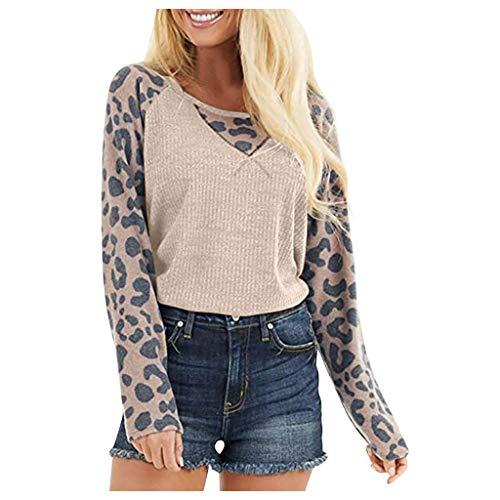 AMUSTER Langarmshirt Sweatshirt Pullover Damen Leopardenmuster Gestricktes Tunika Oberteil Raglan Langarm Spleißhemd