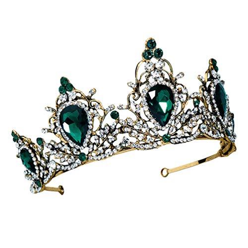 Lurrose Diademas de Corona Verde Vintage Tocado de Piedra de Diamantes de...