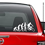 Theory Of Evolution Cyclist Cycling Bicycling Vinyl Decal Sticker Car Truck Vehicle Bumper Window Wall Decor Helmet Motorcycle And More - (Size 7 inch / 18 cm Wide) / (Color Gloss Black)