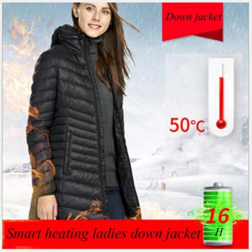 Smart Verwarming donsjack for dames, oplaadbare, afwasbaar, Zwart, Rose Red, kwaliteit rits, winter warme kleding jas buiten, kunt u gaan paardrijden, skiën, reizen buiten