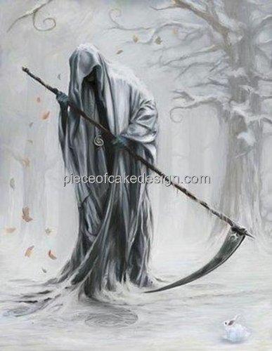 1/4 Sheet ~ Grim Reaper Background Birthday ~ Edible Cake/Cupcake Topper!!!