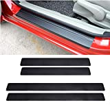 LANZMYAN Car Door Sill Protector Universal 3D Carbon Fiber Scuff Protective Door Sill Cover Panel Sticker 4PCS