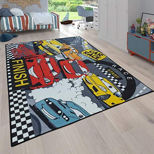 Paco Home Tapis pour Enfant, Tapis Réversible avec Design Rues Et Motifs Voitures, Gris, Dimension:100x200 cm