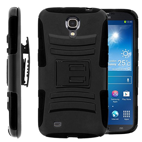 GW Cases Compatible for Samsung Galaxy Mega 6.3, GT-I9200 I9205 i527 (AT&T, Sprint, MetroPCS, U.S. Cellular) Case, Hybrid Dual Layer Armor Phone Case Cover with Kickstand, Holster Belt Clip (Black)