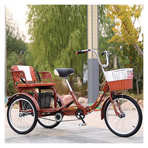 SN 20 Pulgadas Plegable Personas Mayores Adulto Bicicletas De 3 Ruedas Triciclo De Crucero Pedal Mano Obra con Cesta De Ejercicio De Compras Y Asiento Trasero (Color : Brown)